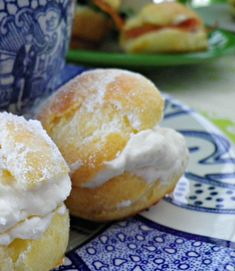 Cream puffs with afternoon tea. Choux pastry is so light and airy. Perfect with tasty chantilly cream.