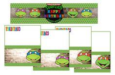 Printable+Ninja+Turtles+Water+Bottle+Labels+by+PoppinPaperParties Turtle Birthday, 5th Birthday, Happy Birthday, Ninja Turtle Invitations, Ninja Birthday Parties, Printable Water Bottle Labels, Food Tent, Ninja Turtles, Birthdays