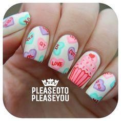I forgot to post my #bestietwinnails solo! #nailart #naildesign #nailpromote #nailartdiary #nails2inspire #nails4yummies #nailartoohlala #thenailartstory #heartnails #hairnailsdiary #dailydigits #dailynailart #fashionfeen #cutenails #lacquerlovers #weloveyournailart #craftyfingers #mermaiddiary  #notd #nailartwow #valentinesdaynails #vdaynails #heartnails #conversationheartnails #cupcakenails