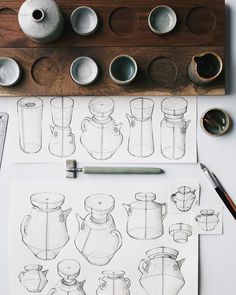 "Florian Gadsby on Instagram: ""Taller teapot or coffeepot sketches, amongst other vessels, drawn with the hand thrown ink dip pens posted yesterday and shaded with simple…"""