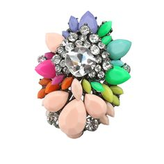 Aliexpress.com : Buy   Wholesale exaggerated color fashion opening rings vintage rhinestone flower female rings dropshipping Free Shipping f...
