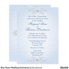Blue Vines Wedding Invitations beautiful blue script #sale #shop