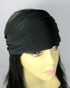 Black Head Wraps Men's Black Headbands Chefs Head Wrap Chef's Black Lycra Head Wrap Yoga Headband Activewear Headband Dreadlocks Headwrap by LooptheLoop on Etsy All time favorite