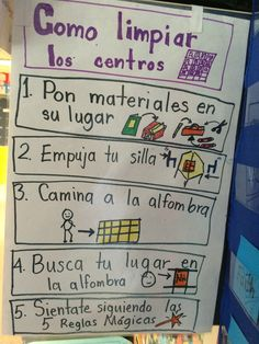Bilingual Centers, Bilingual Classroom, 2nd Grade Classroom, Bilingual Education, Beginning Of Kindergarten, Kindergarten Anchor Charts, Teaching Kindergarten, Student Teaching, Spanish Anchor Charts