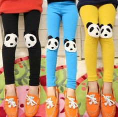 New Autumn Girls CandyColor Panda Pattern Stretchy Leggings Pants Trousers 2-7y      Just ordered these in blue for Kovi. He is going to LOVE them! He is such an animal lover. He'll probably spend all day looking at his knees when he's wearing these.