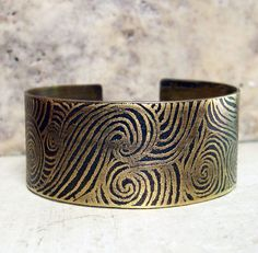 Etched Brass Cuff Waves with Black Patina by AmongTheRuins on Etsy
