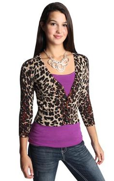 three quarter sleeve v neck cropped button up leopard cardigan