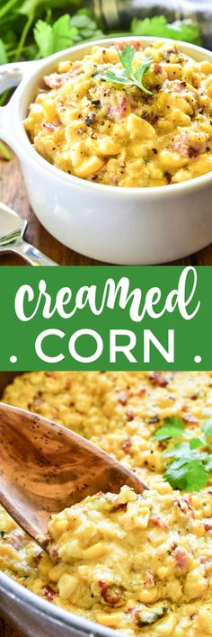 Your favorite new way to eat corn! This Creamed Corn is loaded with bacon, leeks, poblano peppers, and a delicious blend of seasonings. Perfectly savory with just the right amount of sweetness... you've NEVER had creamed corn like this before! Potluck Recipes, Side Dish Recipes, Veggie Recipes, Braai Recipes, Vegetable Dishes, Pork Recipes, Easy Dinner Recipes, Dinner Ideas, Breakfast Recipes