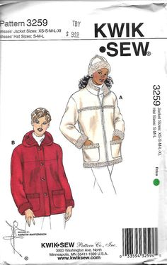 Kwik Sew 3259 Misses jackets And Hat Pattern, XS-XL,  UNCUT