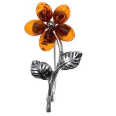 Honey Amber Sterling Silver Flower Pin - CP111A4IM9R - Brooches & Pins  #jewellrix #Brooches #Pins #jewelry #fashionstyle