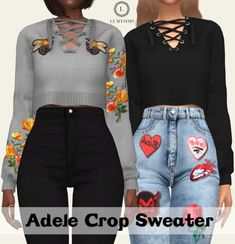 The Sims 4 Adele Crop Sweater Sims 4 Game Mods, Sims Mods, Sims 4 Mods Clothes, Sims 4 Clothing, Vêtement Harris Tweed, Sims 4 Traits, Pelo Sims, Sims 4 Teen, Sims 4 Dresses