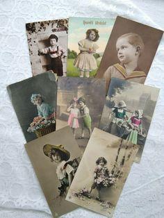 8 pcs antique tinted photo-postcards, kids, children, little girl, boy 1910s' Photo Postcards, Little Girls, Antiques, Children, Boys, Photos, Art, Antiquities, Young Children