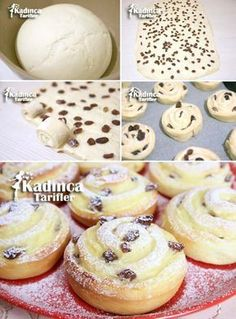 Raisin Cream Muffin Rezept, How To – 2009 # Donuts House – Piercing … - Donut recipes Donut Recipes, Muffin Recipes, Cookie Recipes, Dessert Recipes, Cream Donut Recipe, Turkey Cake, Raisin Recipes, Bread Shaping, Tea Time Snacks