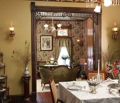 Rooms are smaller and less ornate in this house. Jim painted the dining room, but has plans to paper it in a pattern from the Brillion Collection.
