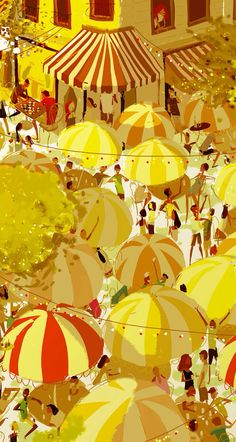 #art #wallpaper #background #phone #iphone #drawing #painting #yellow #city #urban #umbrella