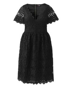 """Lovedrobe"" Lovedrobe Low-cut Crochet Dress at Simply Be"