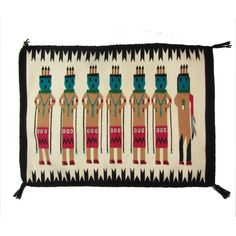Bright Pink & Turquoise Yei Navajo Weaving by Ruby + George