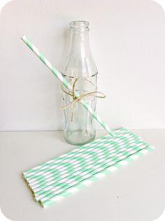 Pajita papel espirales menta - Shop We Love Parties Bcn
