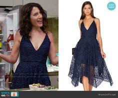 Abby's blue lace v-neck dress on Girlfriends Guide to Divorce.  Outfit Details: https://wornontv.net/66541/ #GG2D