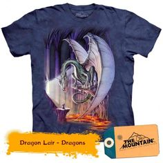 Dragon Lair - Dragons la doar 135,20RON Dragon's Lair, Dragons, Mountain, 3d, Mens Tops, T Shirt, Tee, Kite, Kites