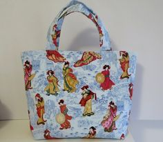Women's Handbag, Tote Bag, Handmade Bag, Contains Pocket & Magnetic Button Closure, Blue Cotton Fabric, Blue Oriental Bag, Gift for Her by RachelMadeBoutique on Etsy https://www.etsy.com/au/listing/460017388/womens-handbag-tote-bag-handmade-bag