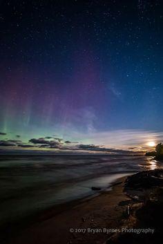 Shimmering northern lights and a bad moon rising over Lake Superior last night near Ontonagon.