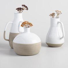 White and Natural Ceramic Vases - Jackson Life, Glass Vessel, Bud Vases, Floral Arrangements, Beautiful Flowers, Ceramics, Natural, Ideas, Ceramica
