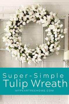 This simple wreath tutorial will show you exactly how to make a beautiful spring tulip wreath. No special skills needed to put together this DIY spring wreath. Make this DIY tulip wreath for your spring decor. Wreath Crafts, Diy Wreath, Wreaths, Wreath Ideas, Decor Crafts, Spring Projects, Spring Crafts, Diy Projects, Do It Yourself Decorating