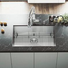 "Kraus Handmade Stainless Steel 16 Gauge 30"" L x 18"" W Undermount Kitchen Sink with Faucet | Wayfair Single Bowl Kitchen Sink, Farmhouse Sink Kitchen, Kitchen Sinks, Kitchen Reno, Kitchen Carts, Diy Kitchen, Condo Kitchen, Kitchen Black, Granite Kitchen"