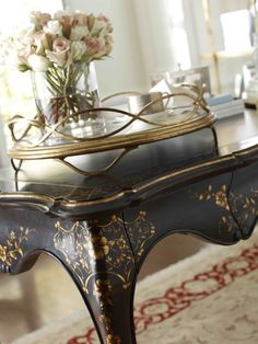 The detailing on this Jonathan Charles writing desk is incredible.