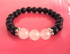 Protection & Heart Stack Solo - Black Onyx and Rose Quartz - $80