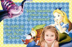 Convite digital personalizado Alice no país das maravilhas com foto 003