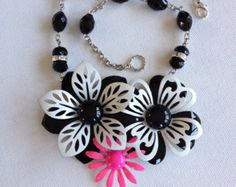 Vintage enamel flower necklace, black white, pink, upcycle recycle repurpose, flower power necklace, assemblage necklace, flower bib