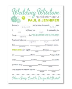 MadLib Wedding Advice Card for Guests by teganwolfe on Etsy, $17.50