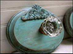 wood plaque, wood applique vintage doorknob ~ Love