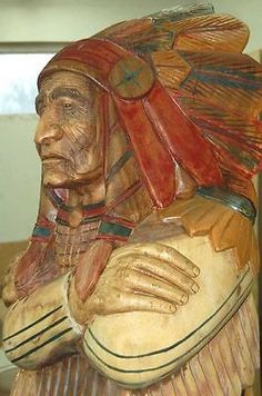 WOODEN-INDIAN-Wood-Cigar-Store-Chief-LIFE-SIZE-6