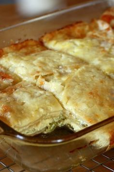 Chile Tortilla Eggbake: I used a 9x13 pan, 12 eggs, 2.5c milk, and more tortillas. Really really good and easy. Middle takes a long time to cook. Cook covered for 45 minutes, uncovered for 15, then cut in to see if done.