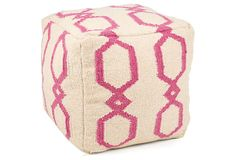 Emerson Pouf, Pink/White on OneKingsLane.com A pink chain-link design adds a pop of color to this cozy wool pouf. This globally inspired piece is a One Kings Lane exclusive.