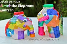 Sun Hats & Wellie Boots: Elmer the Elephant Lantern - made from a Milk Bottle!