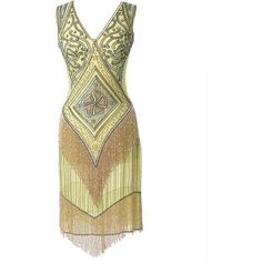 Iconic by UV Green & Gold Beaded Chiffon Georgette Flapper Dress ($268) ❤ liked on Polyvore featuring dresses, vintage flapper dress, white knee length dress, white slip, green sequin dress and vintage sequin dress