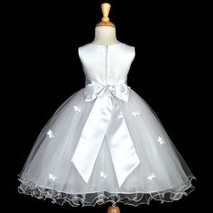 Butterflies Tulle Flower Girl Dress Pageant Wedding Special Occasions Handmade Toddler 509S
