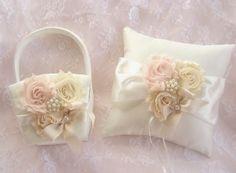 Flower Girl Basket ,  Ring Bearer Pillow   Blush Rose Blossom Ivory, Flower Girl Basket Vintage CUSTOM COLORS  too Wedding Pillow on Etsy, $45.00