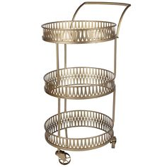 Boasting three mirrored tiers and a chic round design, the A and B Home Urban Vogue Round Bar Cart exudes contemporary appeal. Its large metal casters.