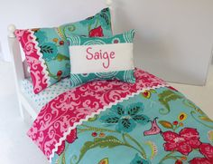 Personalized Bedding Set for American Girl by SeamsSoIrresistible, $26.49 Doll Bedding, Doll Beds, American Girl, Comforters, Bed Pillows, Pillow Cases, Blanket, Trending Outfits, Handmade Gifts