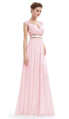 1cffa6f3775a Ever-Pretty Women s Elegant Cap Sleeve Bridmaid Dresses Prom Gowns for  Women 08697 (Pink