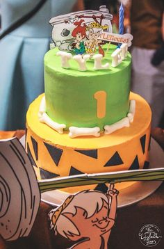 Cake from a Flintstones Inspired Birthday Party via Kara's Party Ideas | KarasPartyIdeas.com (13)