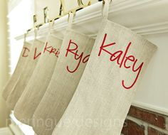 Personalized Christmas Stocking Embroidered in Classic Beige Linen. via Etsy.