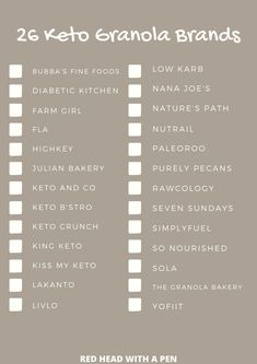 This free printable is a must-have! These are all the best keto granola brands that are low-carb and perfect for breakfast or a snack! #Keto #Ketobreakfast #Ketocereal #Ketosnacks Good Keto Snacks, Snacks List, Keto Diet For Beginners, Recipes For Beginners, Granola Brands, Julian Bakery, Best Keto Breakfast, Keto Cereal, Keto Granola