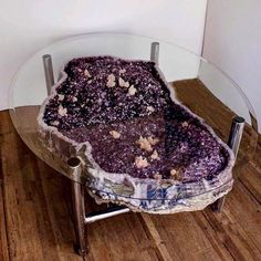 Stunning large Amethyst geode coffee table attached as a luxury coffee table. Natural citrine geode coffee table that is cradled on the tailor. Crystal Furniture, Bar Deco, Crystals In The Home, Creation Deco, Crystal Decor, Crystal Room, Resin Table, Interior Decorating, Interior Design