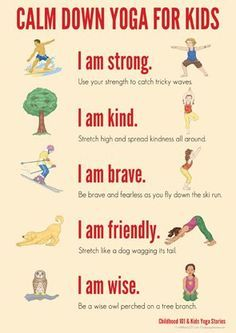 Calm Down Yoga Routine for kids - help children manage big emotions - printable poster